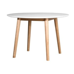 Bílý jídelní stůl s konstrukcí z dubového dřeva Wermo Eelis, ⌀ 110 cm