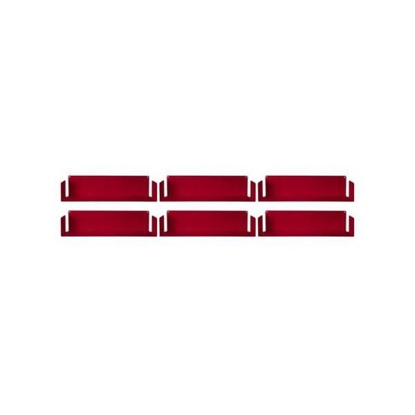 Sada šesti neviditelných polic Linéaire U, červené
