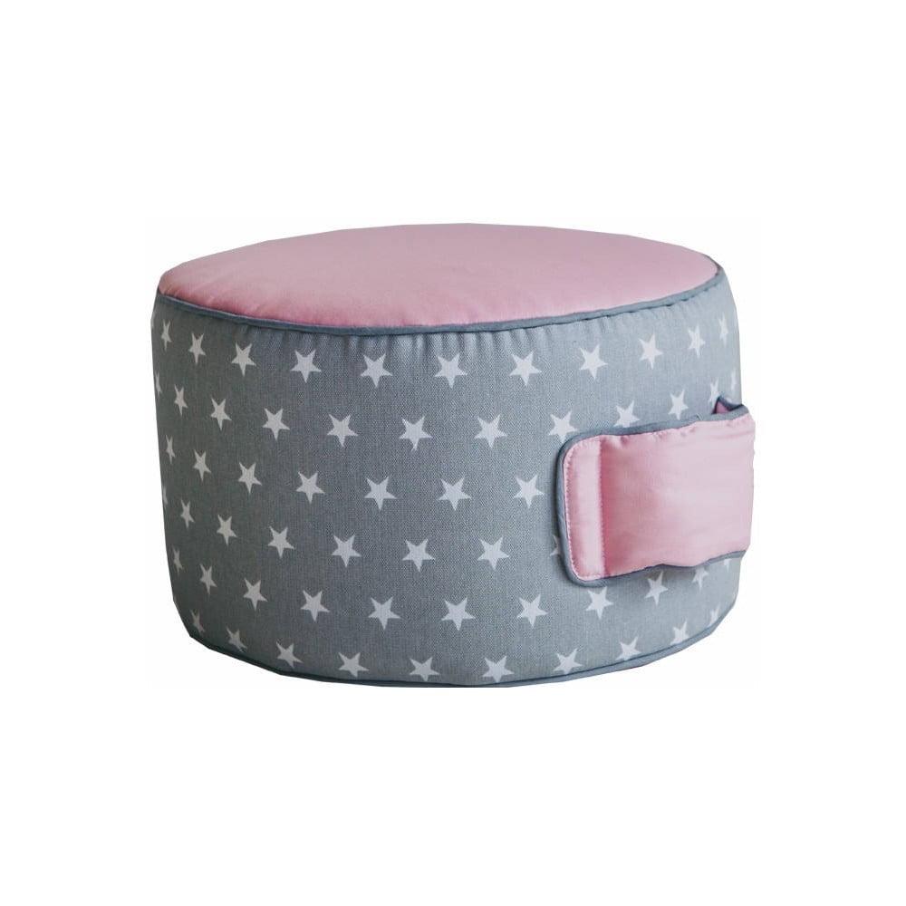 Růžový dětský bavlněný puf VIGVAM Design Stars, ⌀ 35 cm