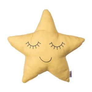 Žlutý dětský polštářek s příměsí bavlny Apolena Pillow Toy Star, 35 x 35 cm