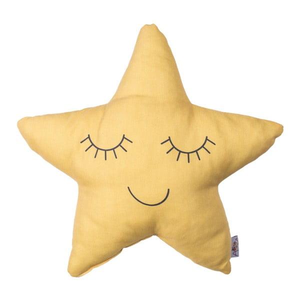 Pernă din amestec de bumbac pentru copii Apolena Pillow Toy Star, 35 x 35 cm, galben