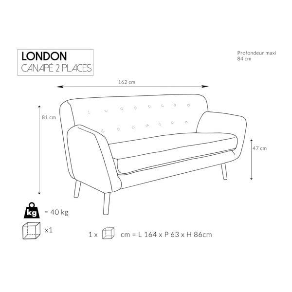Sada 2 šedých pohovek pro dva a pro tři Cosmopolitan design London