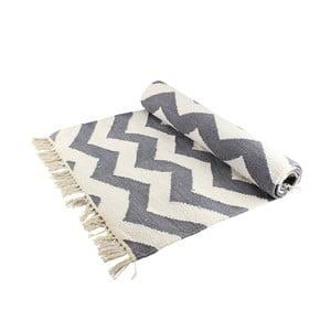 Vlněný koberec s cik cak vzorem, šedá/bílá