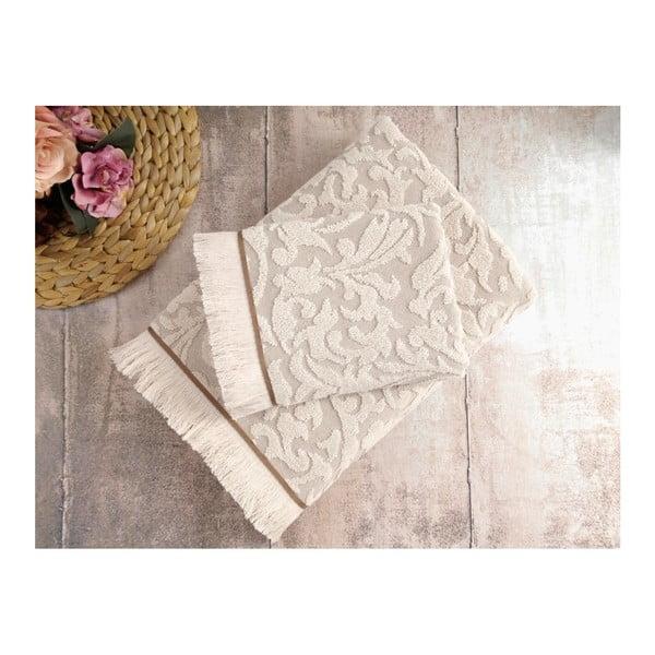 Sada 2 béžových ručníků Irya Home Royal, 50x90 cm