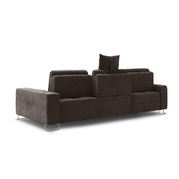 Tmavě hnědá rozkládací rohová pohovka se sametovým potahem Windsor & Co Sofas Diane, levýroh