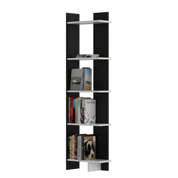 Bibliotecă cu detalii albe Als Black White, negru