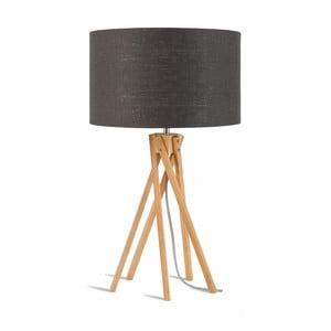 Stolní lampa s tmavě šedým stínidlem a konstrukcí z bambusu Good&Mojo Kilimanjaro