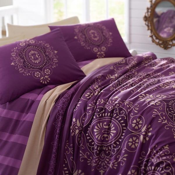 Lenjerie de pat cu cearșaf Ottoman Purple, 200 x 220 cm