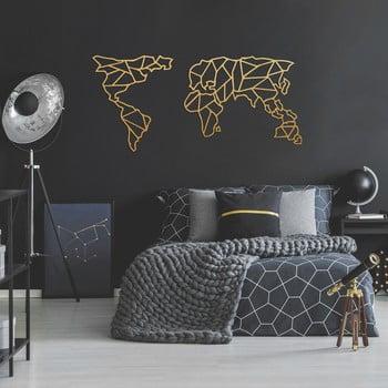Decorațiune metalică pentru perete Geometric World Map, 120 x 58 cm, auriu imagine