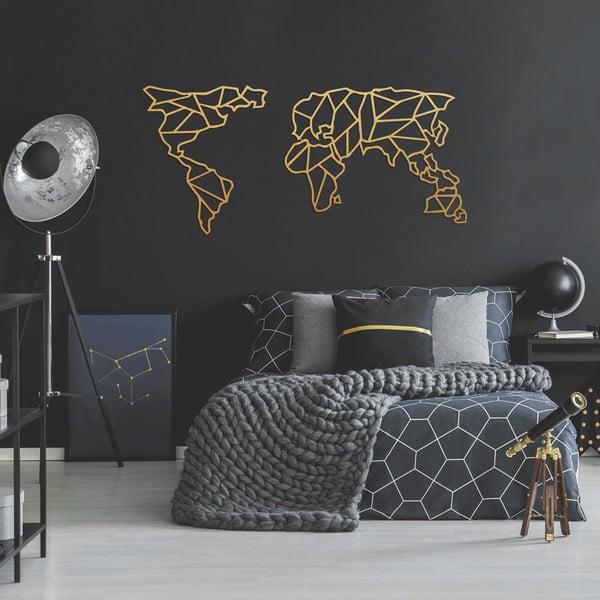 Kovová nástěnná dekorace ve zlaté barvě Geometric World Map, 120 x 58 cm