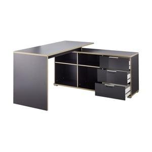 Černý pracovní stůl s odkládacím stolkem s šuplíky Germania X
