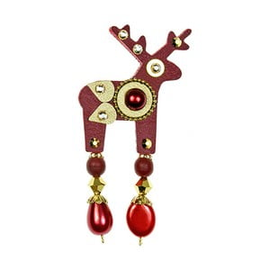 Červená brož Deers Baueri,4cm