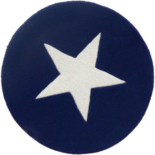Vlněný koberec Star Blue, 130 cm