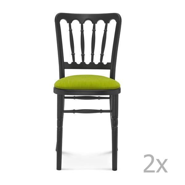 Sada 2 černých dřevěných židlí se zeleným polstrováním Fameg Malene