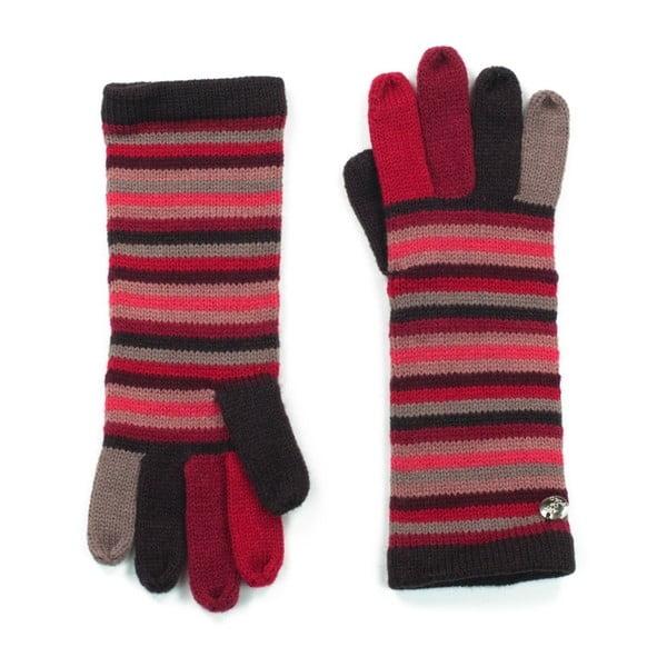 Červené pruhované rukavice Bella