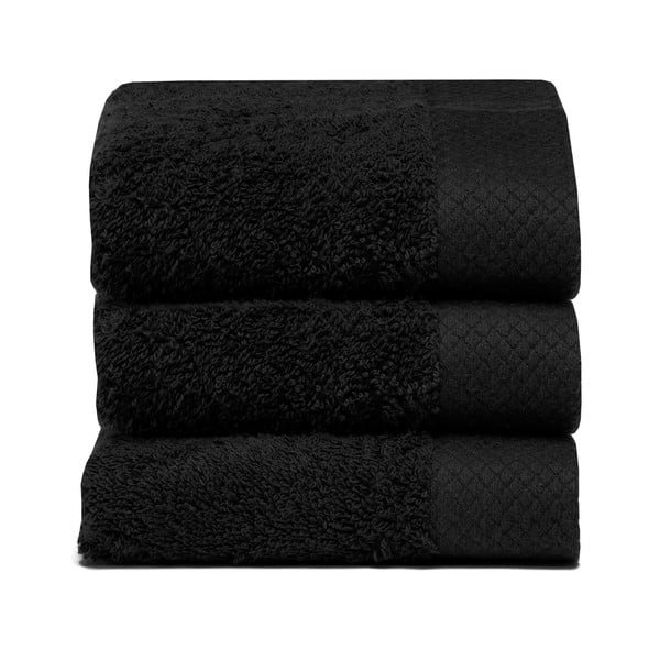 Set 3 ručníků Pure Black, 30x50 cm