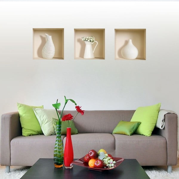 Autocolant 3D pentru perete Nisha White Decor