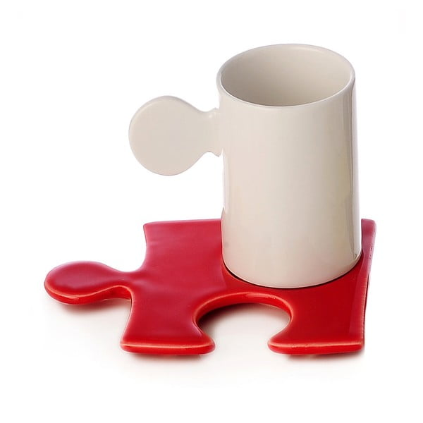 Porcelánový hrnek Puzzle White/Red