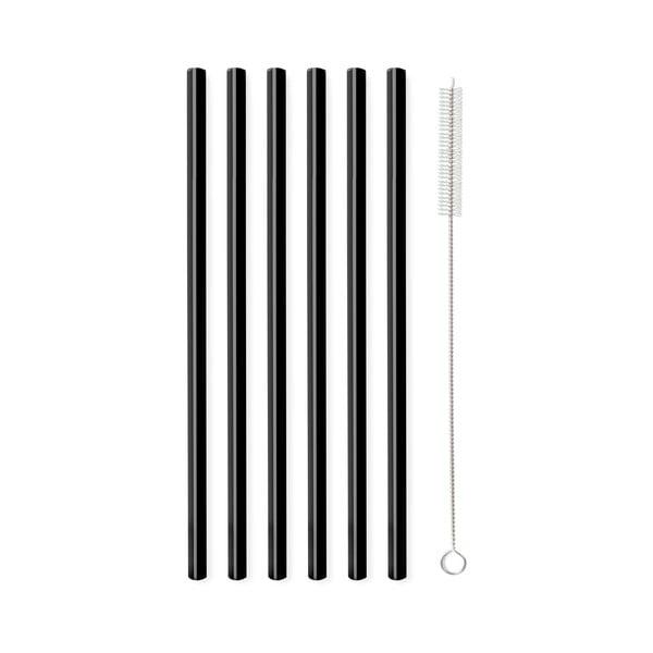 Sada 6 černých skleněných brček na pití Vialli Design, délka 20cm