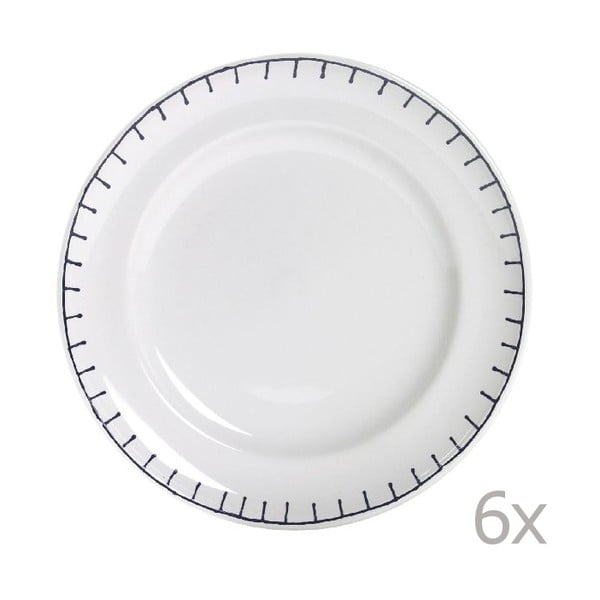 Sada 6 talířů Sophie Stitch 21 cm, modrý
