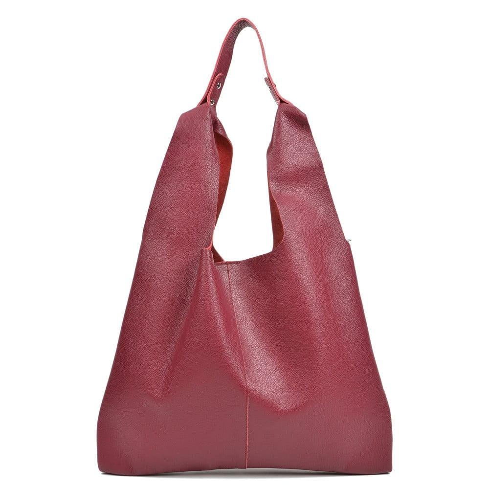 Vínově červená kožená kabelka Sofia Cardoni Hobo
