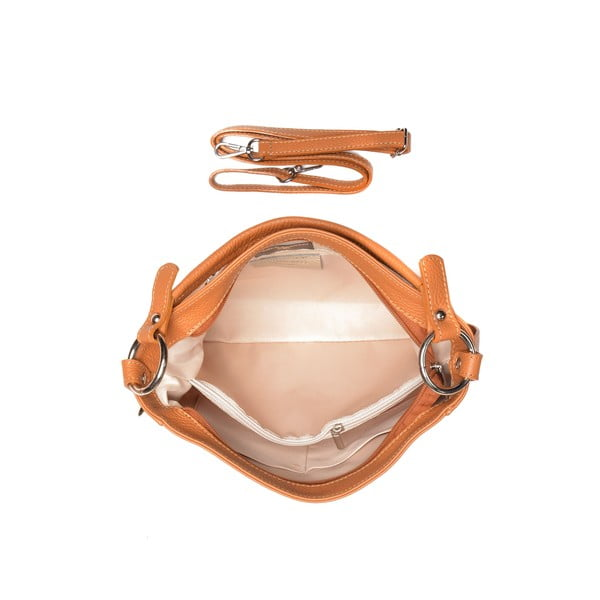 Světle koňakově hnědá kožená kabelka Carla Ferreri Beatrice