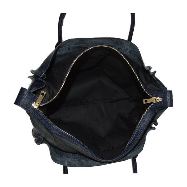 Modrá kožená kabelka Chicca Borse Anag
