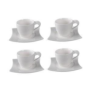 Sada 4 porcelánových šálků s podšálky Sola Sandra, 250ml