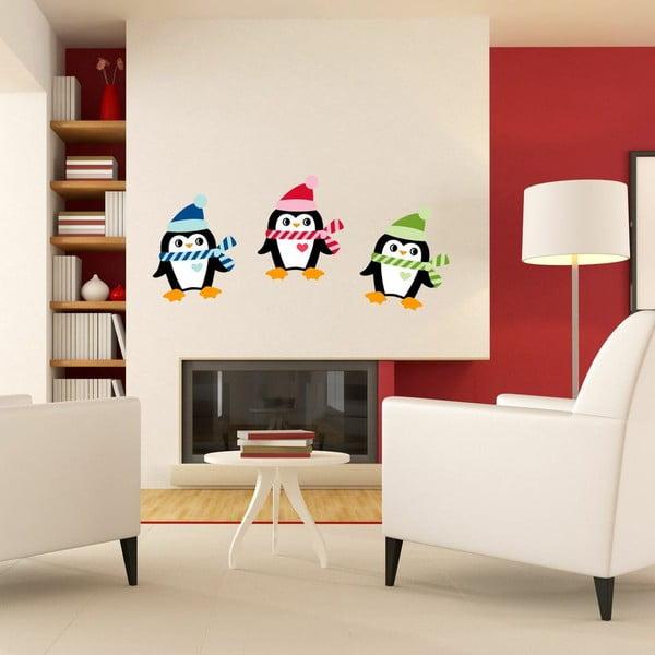 Sada 3 vánočních samolepek Ambiance Christmas Penguins
