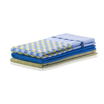 Set 3 prosoape de bucătărie din bumbac DecoKing Louie, 50 x 70 cm, albastru-alb
