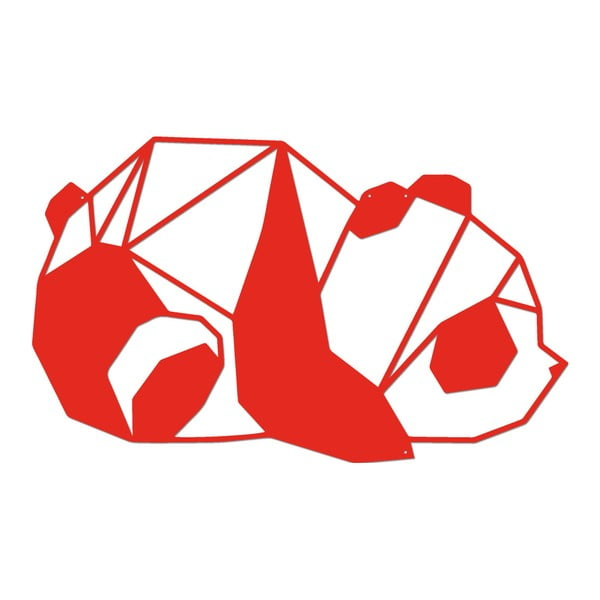 Červená kovová nástěnná dekorace Panda