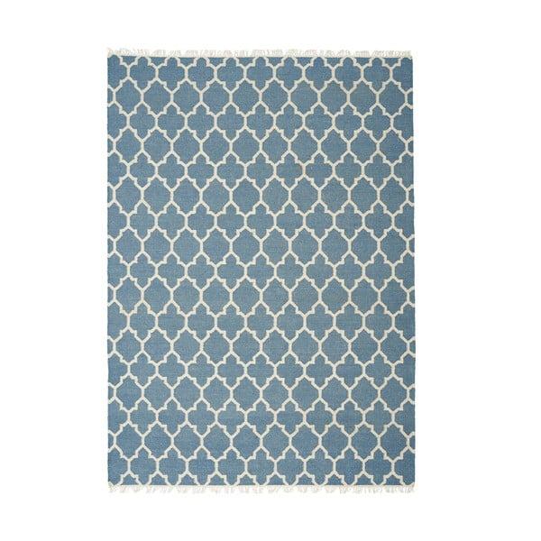 Modrý ručně tkaný vlněný koberec Linie Design Arifa, 140x200cm