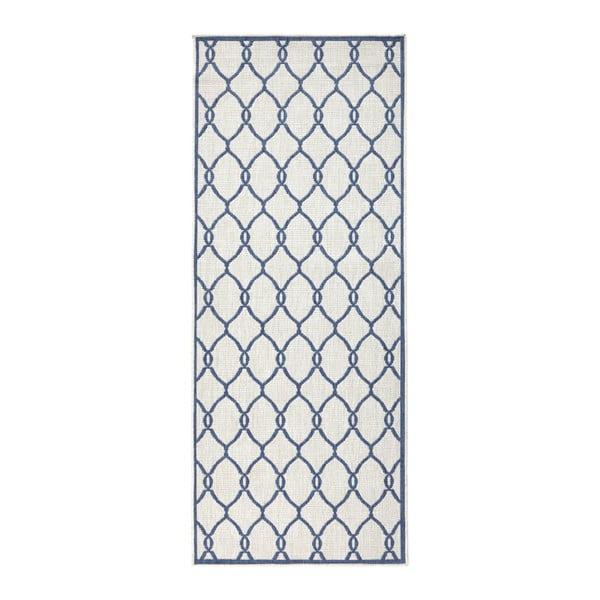 Modrý vzorovaný obojstranný koberec Bougari Rimini, 80 x 150 cm