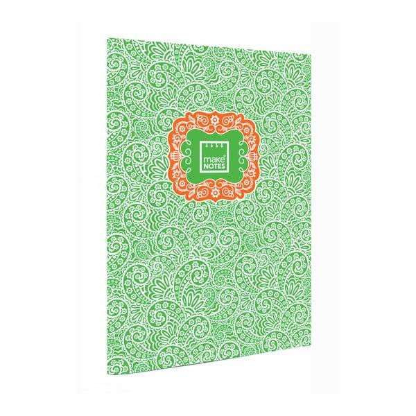 Paisley One zöld napló, A4, 40 lap - Makenotes
