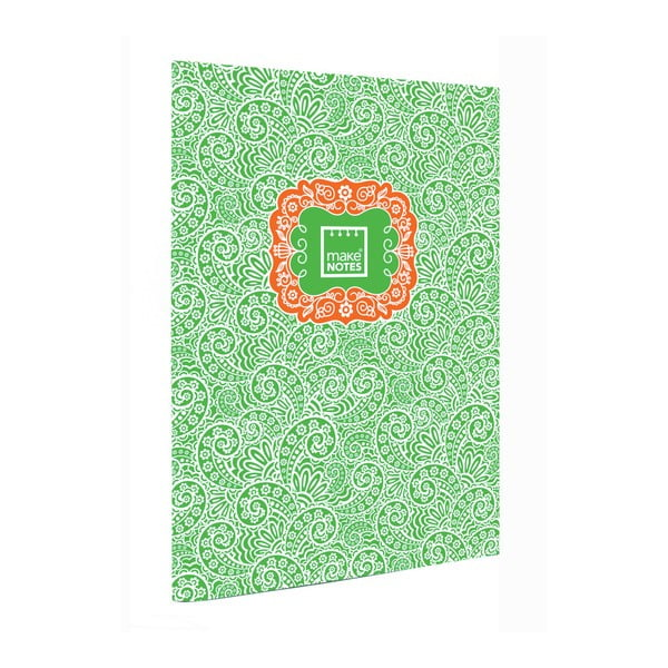 Agendă A7 Makenotes Paisley One, 40 file, verde