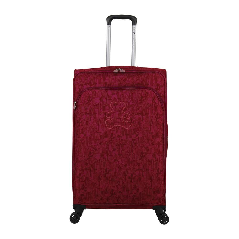 Fuchsiově růžové zavazadlo na 4 kolečkách Lulucastagnette Teddy Bear, 71l