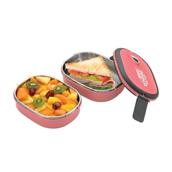 Růžová dvojitá miska na oběd Pioneer Lunchbox