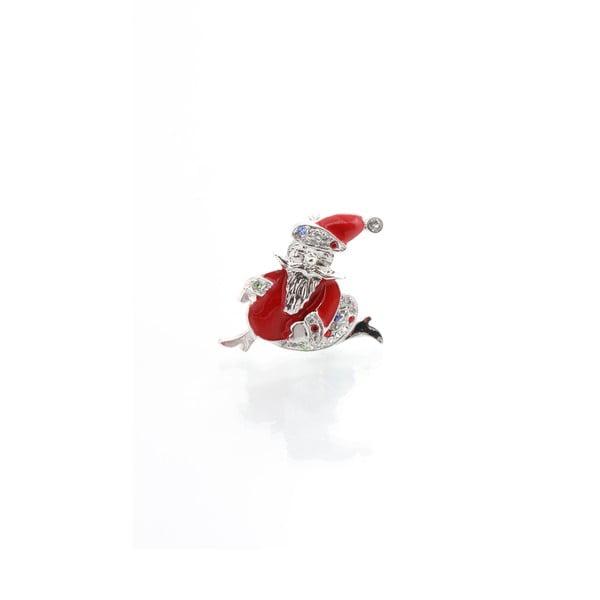 Brož se Swarovski Elements Santa Claus Silver