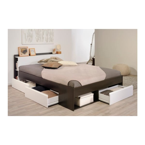 Hnědá dvoulůžková postel se 3 zásuvkami Parisot Aubrée, 160x200cm