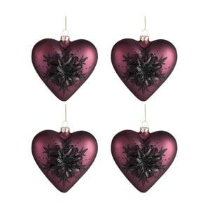 Sada 4 vánočních ozdob ve tvaru srdce Auberg