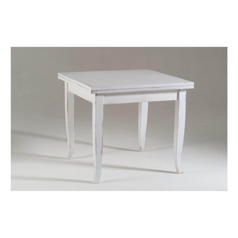 Bílý dřevěný rozkládací jídelní stůl Castagnetti Dato, 100 x 100 cm