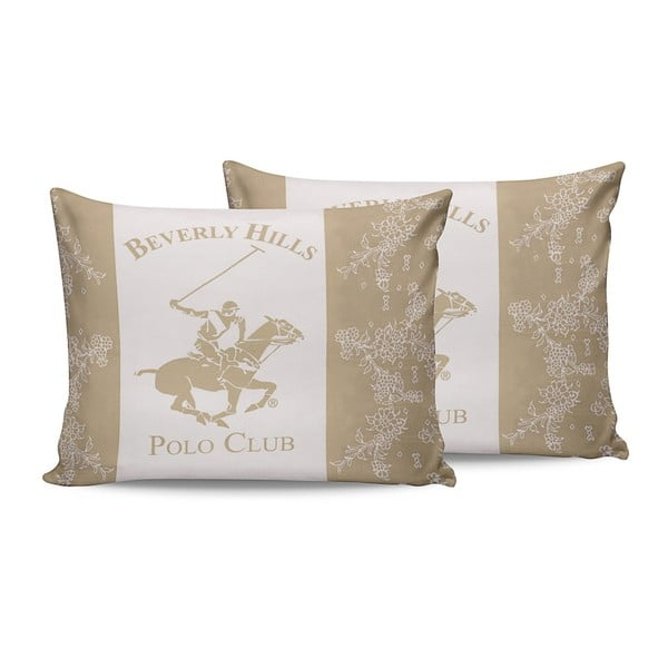 Komplet 2 kremowych bawełnianych poszewek na poduszki Beverly Hills Polo Club Lerro, 50x70 cm