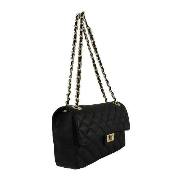 Černá kožená kabelka Chicca Borse Chiara