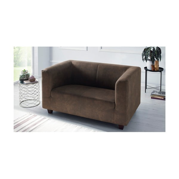 Canapea cu 2 locuri Bobochic Paris Django Preston, maro deschis