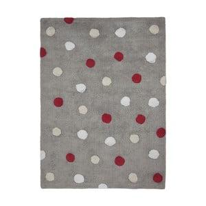 Šedý bavlněný ručně vyráběný koberec s červenými puntíky Lorena Canals Polka, 120x160cm