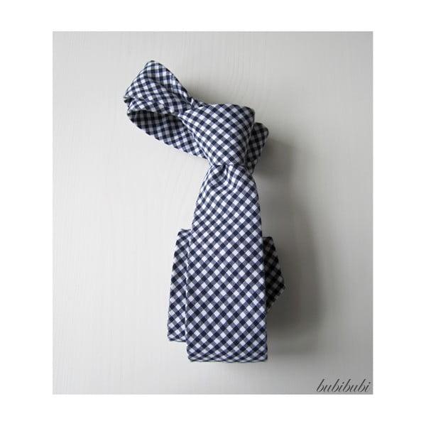 Modrá kostičkovaná kravata