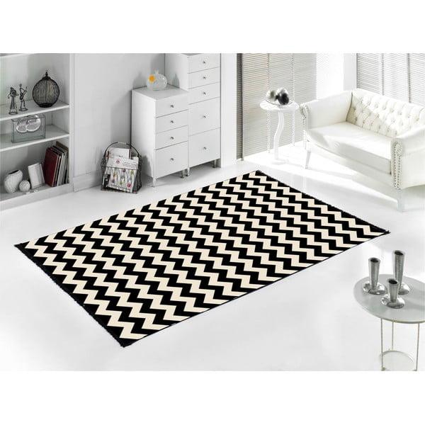 Černý koberec ZigZag 80x150 cm