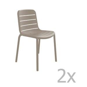 Sada 2 pískově hnědých zahradních židlí Resol Gina Garden