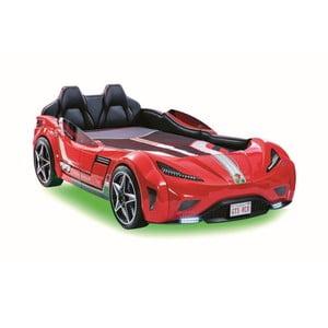 Červená dětská postel ve tvaru auta se zeleným osvětlením Fast GTS Carbed Red