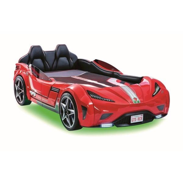 Fast GTS Carbed Red autó formájú piros gyerekágy, zöld lámpákkal